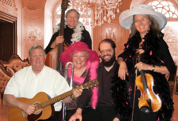 Photo of Raspberry Jam Band: John Massey, guitar; Doug Davies, bass; Julia Riley, flute/piccolo; Tom Brier, piano; Cheryl Woldseth, violin
